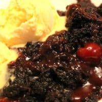 Chocolate Cherry Dr. Pepper Cobbler in the Crockpot