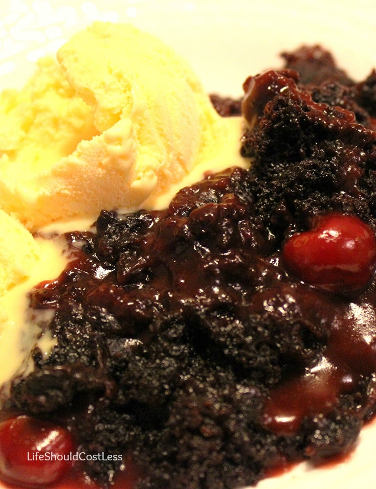 Chocolate Cherry Dr Pepper Dump Cobbler, a crockpot recipe.