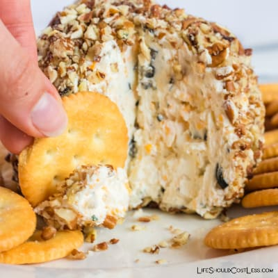 Kick-Ass Cheeseball Recipe made with ranch, cream cheese, garlic, olives, onion, and pecans. lifeshouldcostless.com