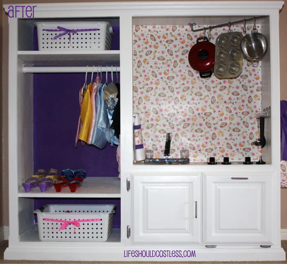 Entertainment Center Kitchen Set: Play Kitchen And Dress-Up Station, All In One