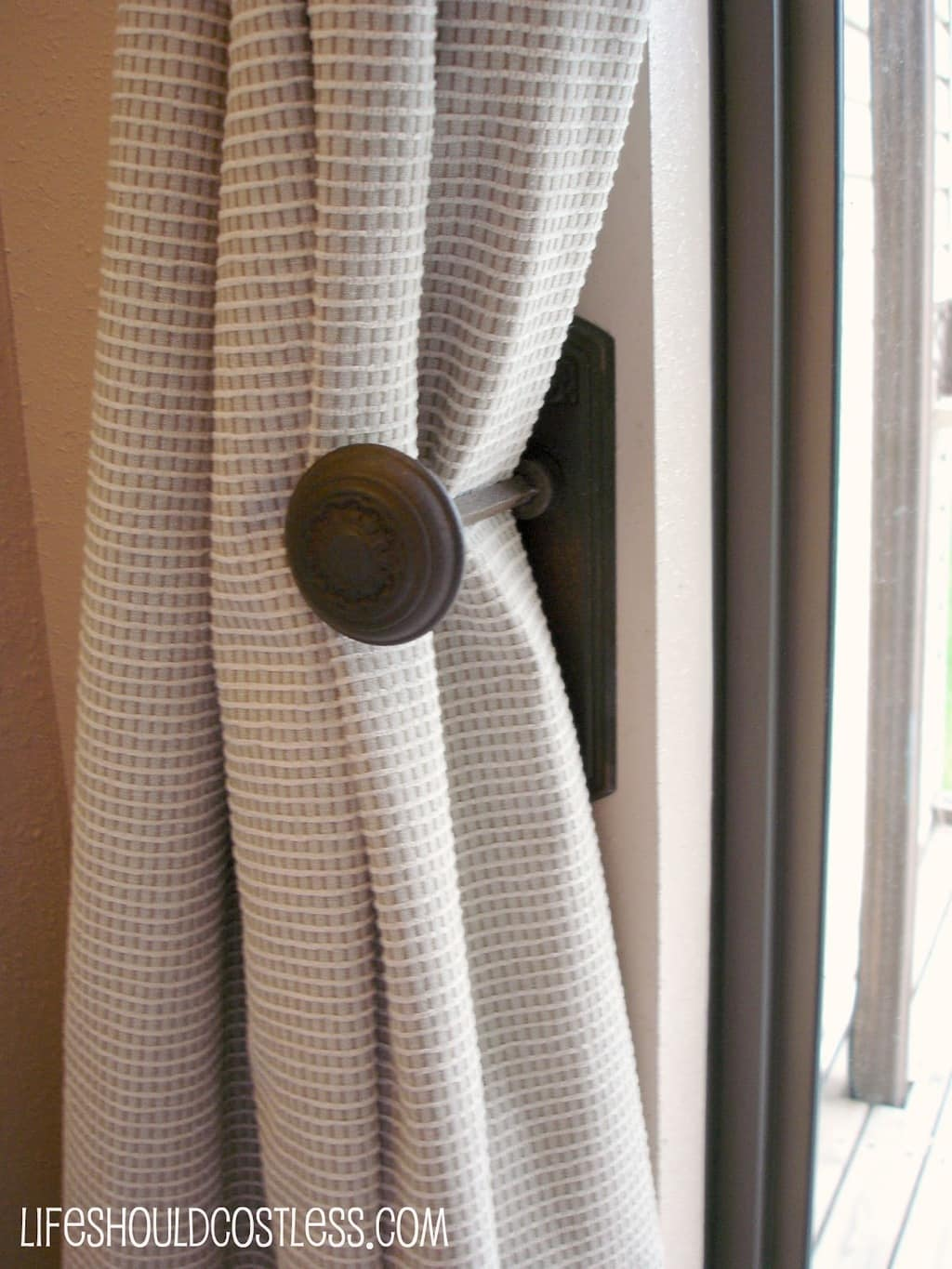 Antique Doorknobs as Drape Tie backs, How to install them - Life ...