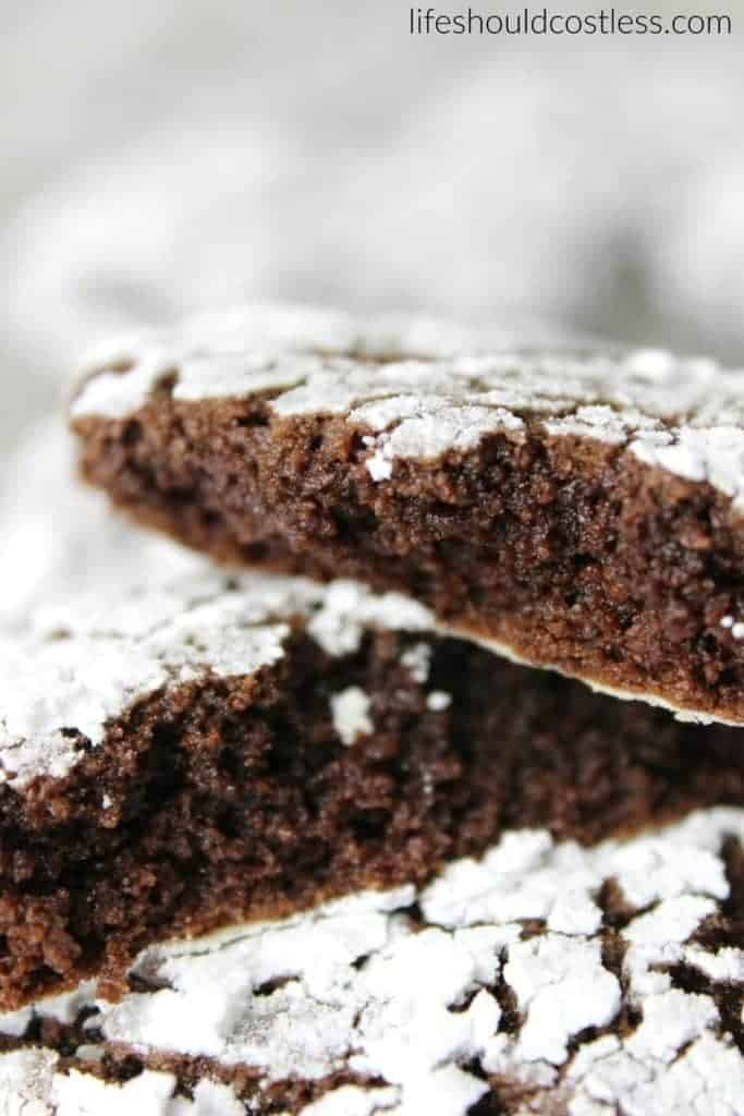Ooey Gooey Spicy Chocolate Crinkle Cookies. They pack a punch with Cayenne Pepper and Cinnamon. {lifeshouldcostless.com}
