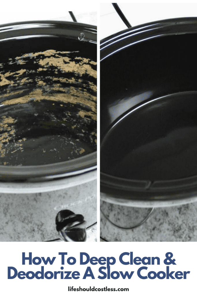 How to deep clean and deodorize a slow cooker/crock pot. Gets out any lingering funky tastes or smells and makes it like new again. lifeshouldcostless.com