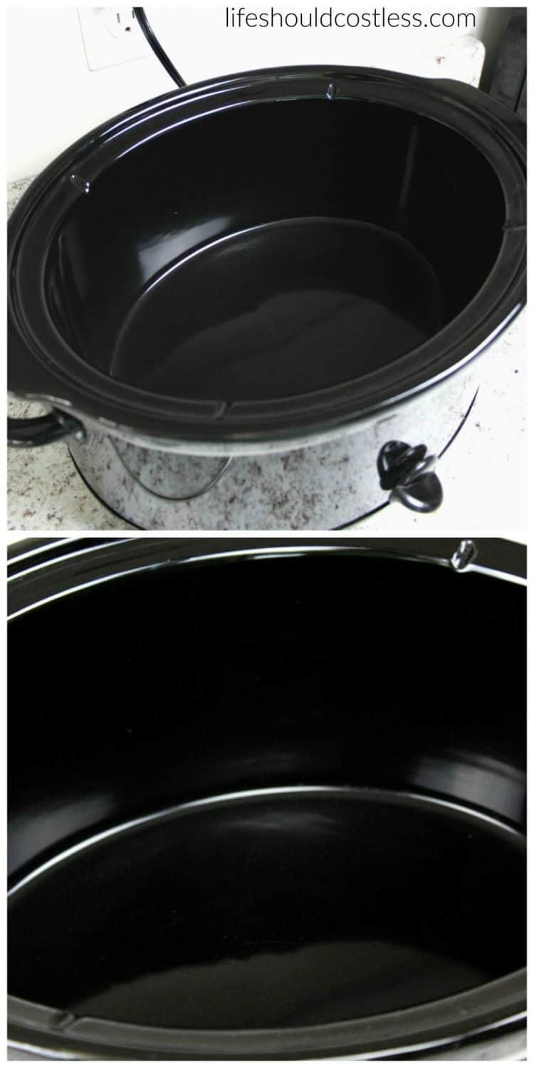 How to make your slow cooker clean itself! Never spend more than thirty seconds scrubbing your slow cooker ever again! Plus, it removes any funky lingering tastes or smells. lifeshouldcostless.com