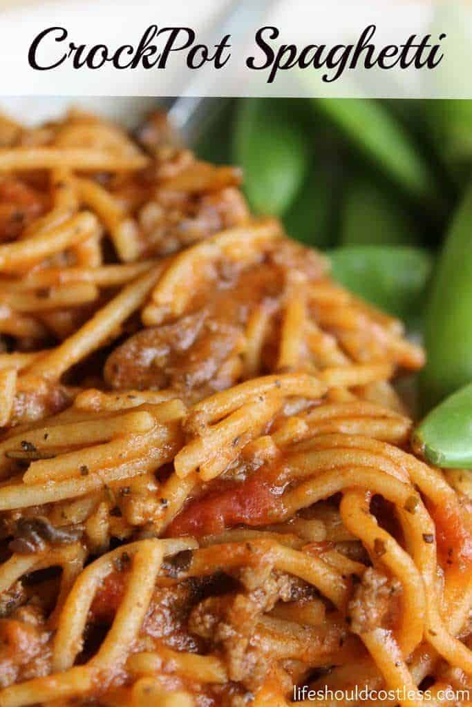 CrockPot Spaghetti. It's so easy and delicious it will be on your dinner rotation in no time. #EasyDinner #SlowCooker {lifeshouldcostless.com}