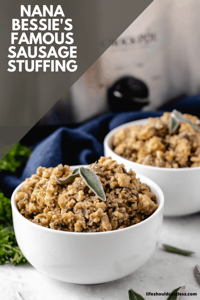 Crock Pot Stuffing Recipe. Nana Bessie's Famous Sausage and Sage Stuffing/Dressing Recipe. lifeshouldcostless.com