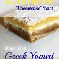 "Lemon ""Cheesecake"" Bars, Made With Greek Yogurt & Whole Wheat"