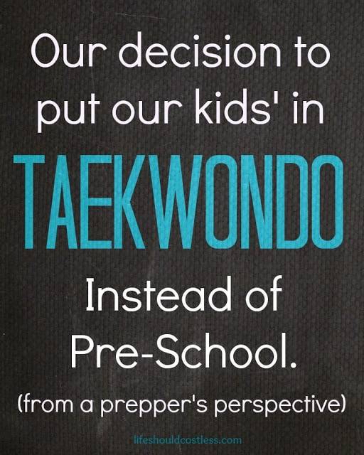 Our decision to put our kids' in Taekwondo, instead of Pre-School. (from a prepper's perspective)
