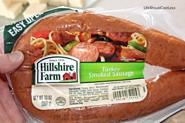 Smoked sausage or keilbasa for pasta salad.