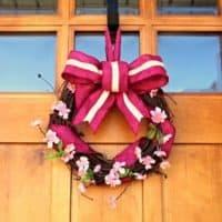 Cherry Blossom and Fuschia Burlap Spring Wreath, a basic tutorial.