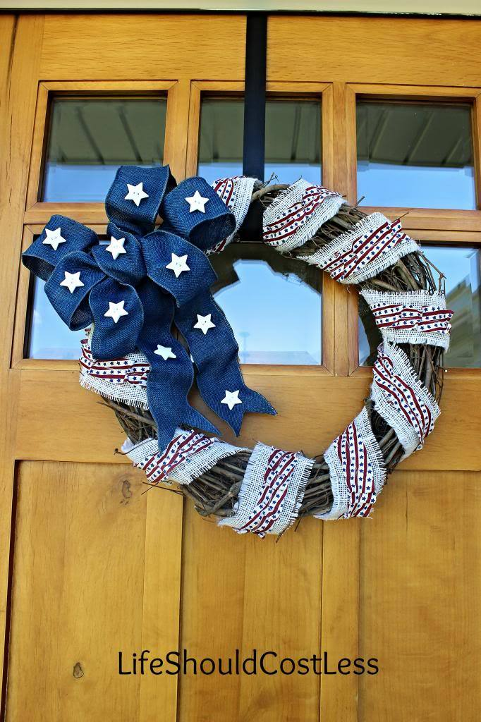 Burlap Patriotic Wreath For Summer, With Basic Tutorial
