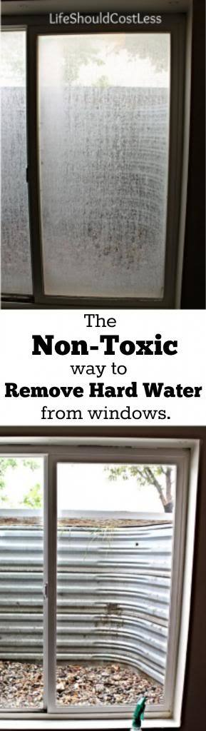 The non-toxic way to remove hard water from windows. This great cleaning tip will have you seeing through all of your windows in no time! For other popular cleaning tips visit lifeshouldcostless.com.