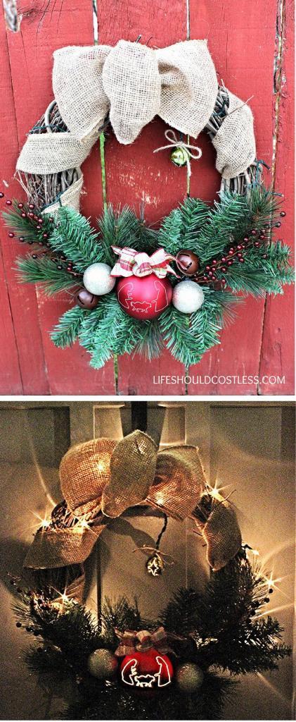 Lighted Nativity Silhouette Wreath DIY