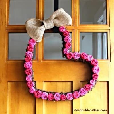 Valentine's Day heart shaped wreath craft