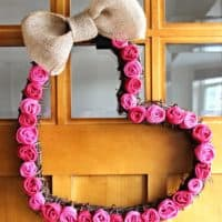 Burlap Rosette Valentine's Day Heart Wreath