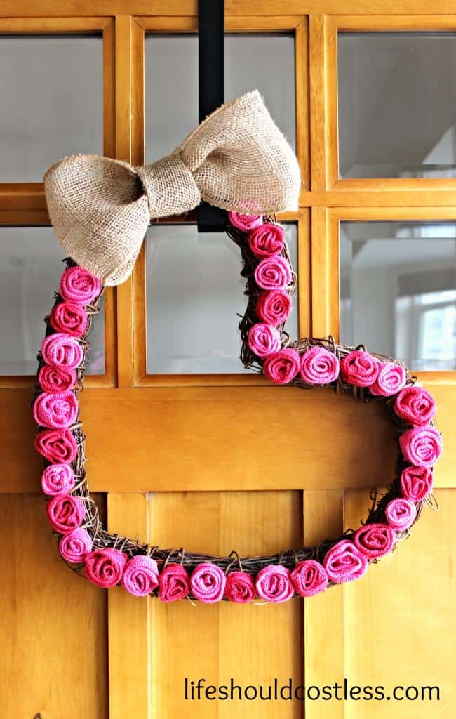 Burlap Rosette Valentine's Day Heart Wreath