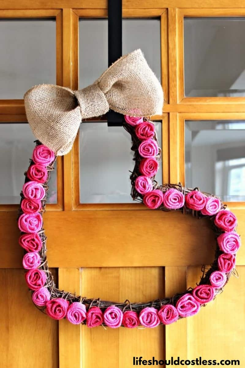 Heart wreath tutorial with burlap rosette's and a grapevine wreath form.