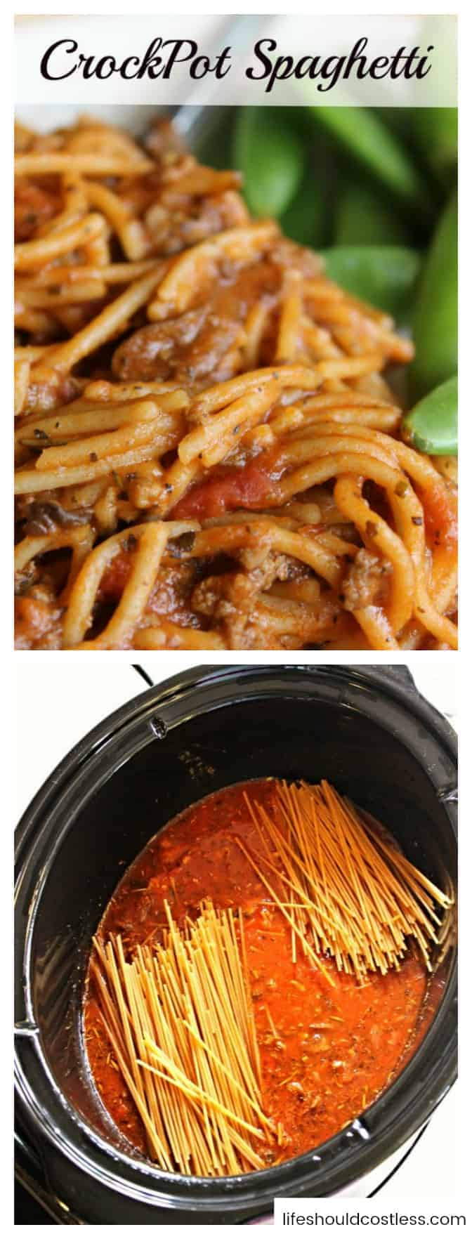 "CrockPot Spaghetti Recipe. The best slow cooker spaghetti because it's ""one pot"", five minutes of prep, and requires only two hours to cook. Perfect for the days you don't feel like cooking. lifeshouldcostless.com"