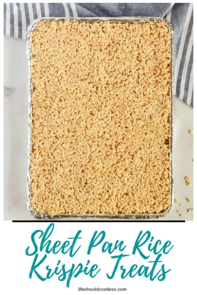 Large batch rice krispie treats recipe. Fills a half sheet pan. lifeshouldcostless.com