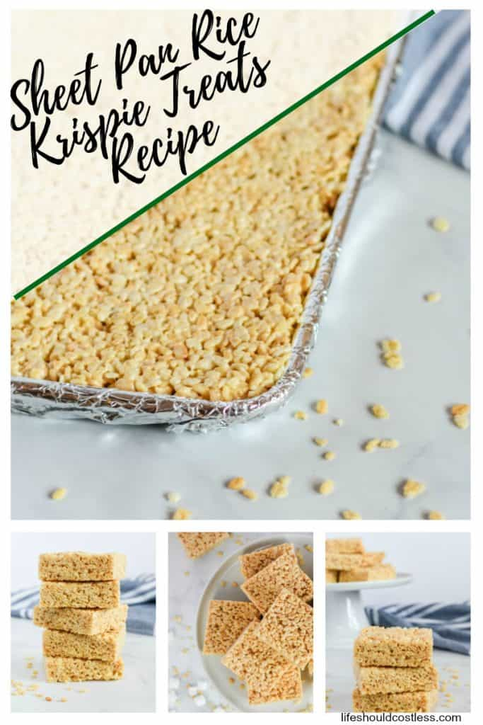 Sheet Pan Rice Krispie Treats to feed a crowd. Perfect for large gatherings, potlucks, and/or bake sales. lifeshouldcostless.com