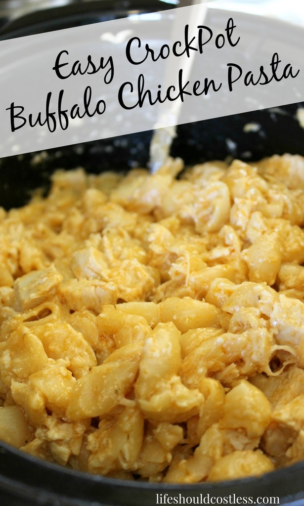 Easy CrockPot Buffalo Chicken Pasta. If Mac 'N Cheese had a baby with Buffalo Wings, this creamy and delicious meal would be it.