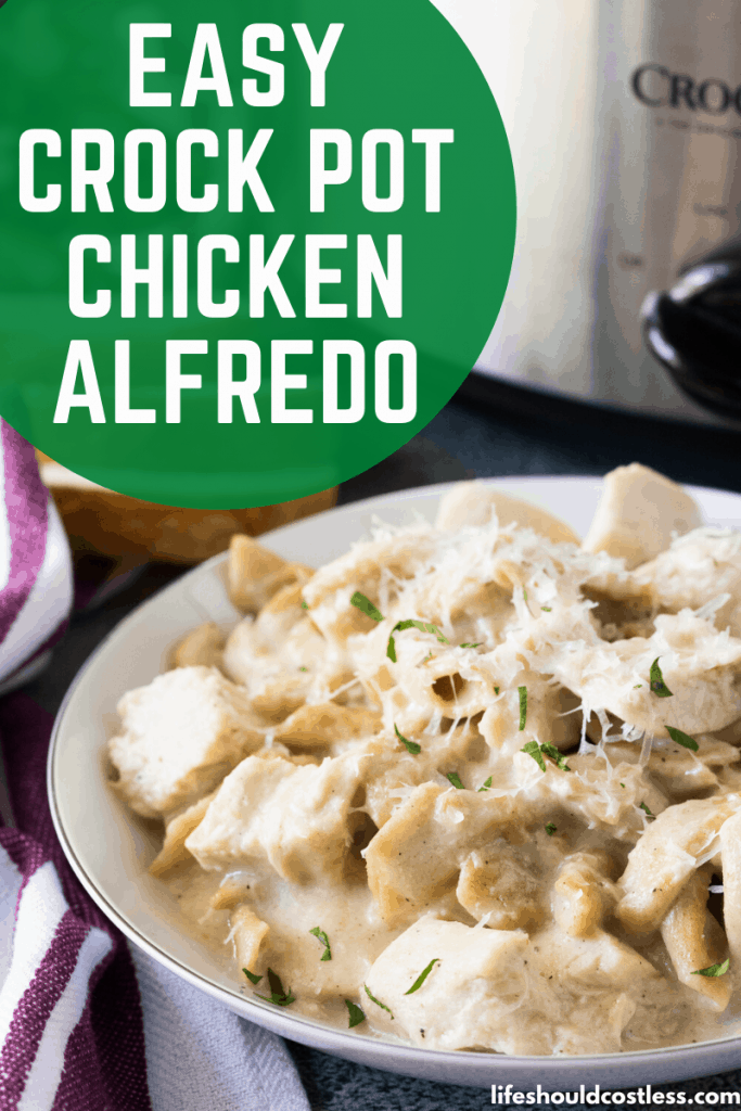 Easy Crock Pot Chicken Alfredo with jar sauce. Best simple recipe. lifeshouldcostless.com