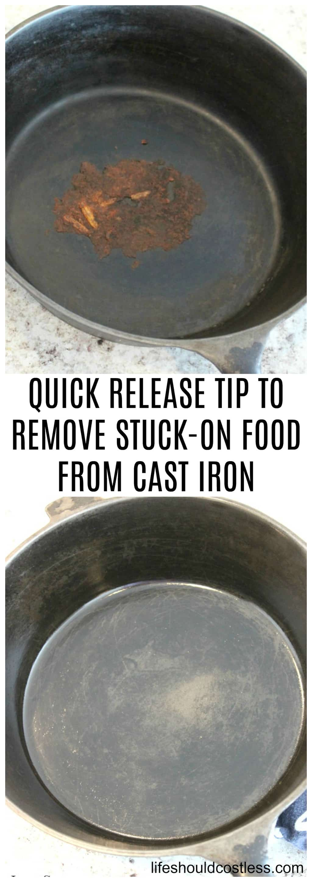 QUICK RELEASE TIP TO REMOVE STUCK-ON FOOD FROM CAST IRON. Easy cast iron care cleaning tip.