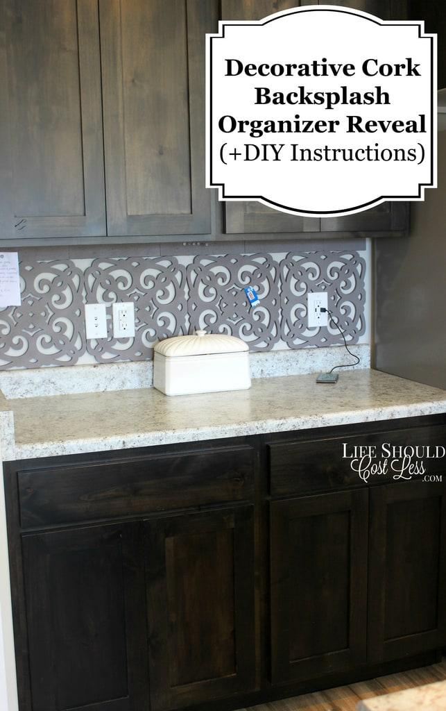 decorative cork backsplash organizer diy instructions