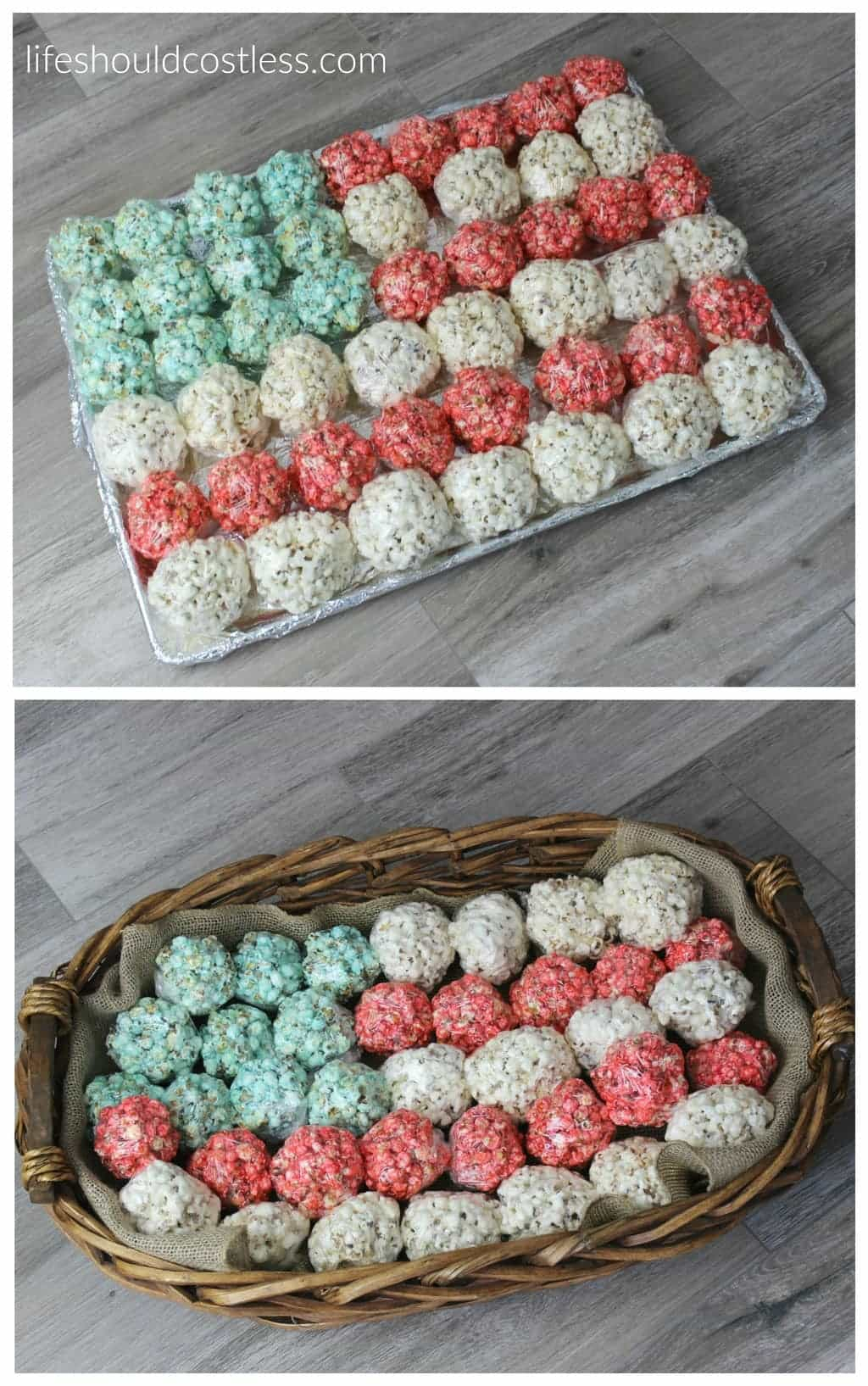 Patriotic Flag Popcorn Balls in pan or basket. #summertime #patriotic #dessert {lifeshouldcostless.com}