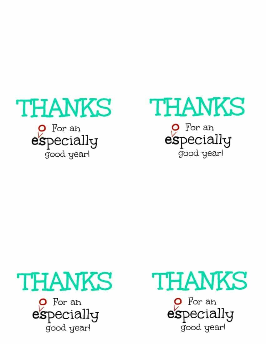 Thanks for an eospecially good year free printable four per page turquoise