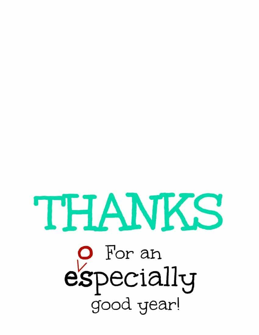 Thanks for an eospecially good year turquoise free printable