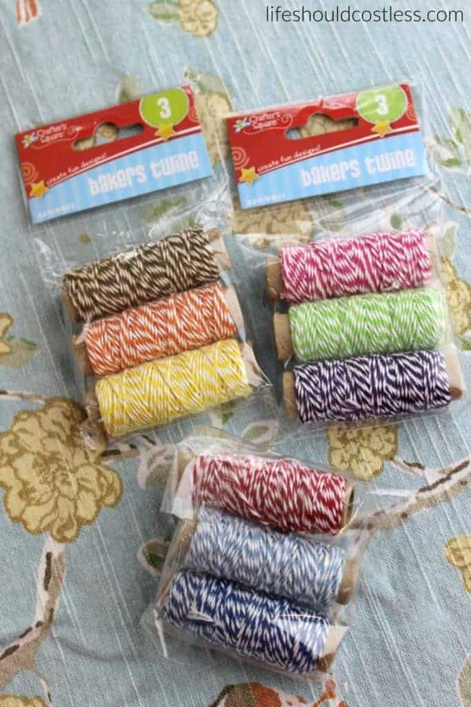 A gift idea that's as easy as pie, and costs less than $1 each. Assorted bakers twine. {lifeshouldcostless.com}