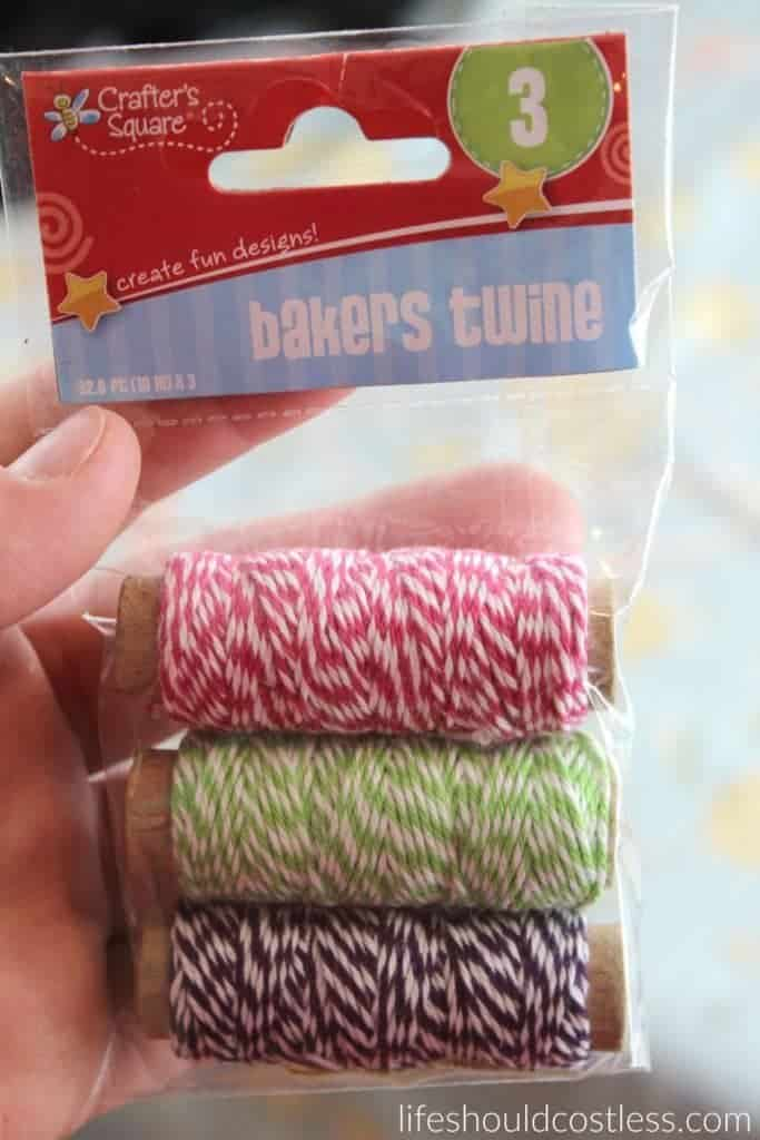 A gift idea that's as easy as pie, and costs less than $1 each. Cute, colored bakers twine. {lifeshouldcostless.com}