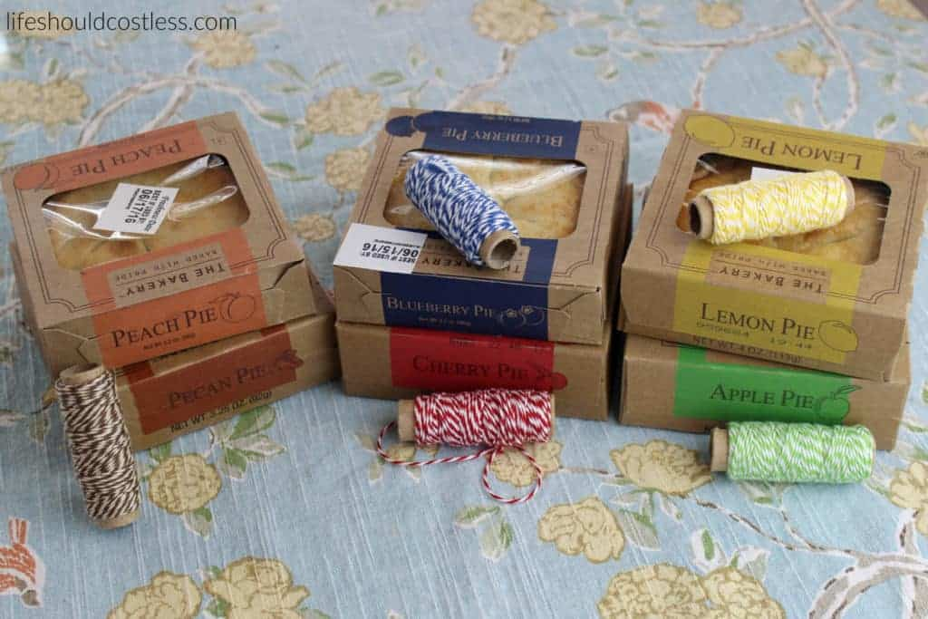 A gift idea that's as easy as pie, and costs less than $1 each. Pies matched with twine. {lifeshouldcostless.com}