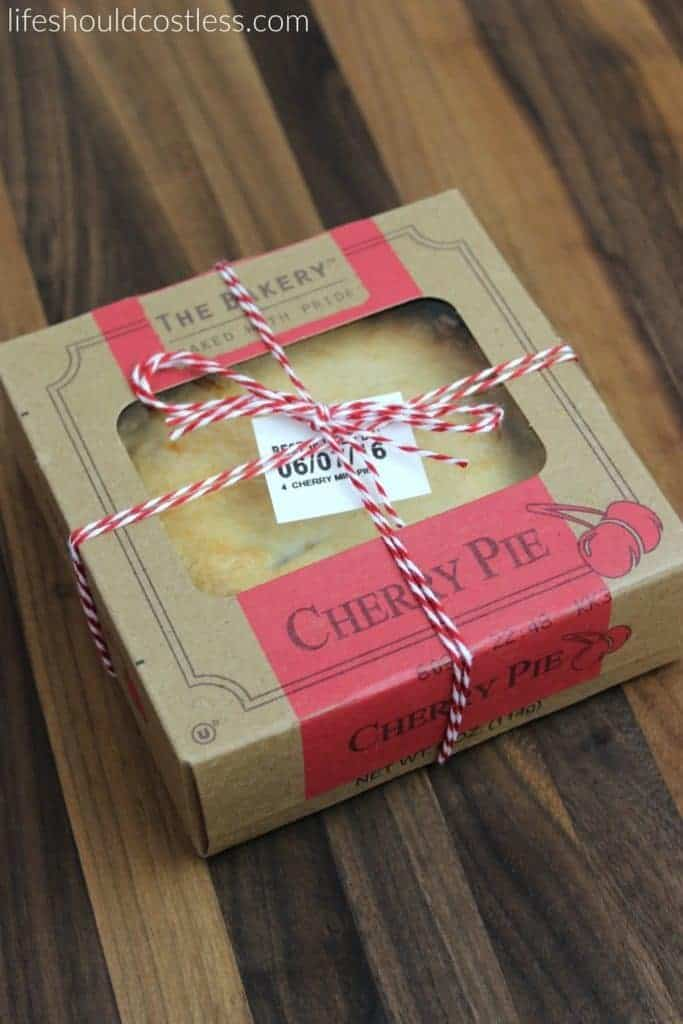 A gift idea that's as easy as pie, and costs less than $1 each. Red cherry pie. {lifeshouldcostless.com}