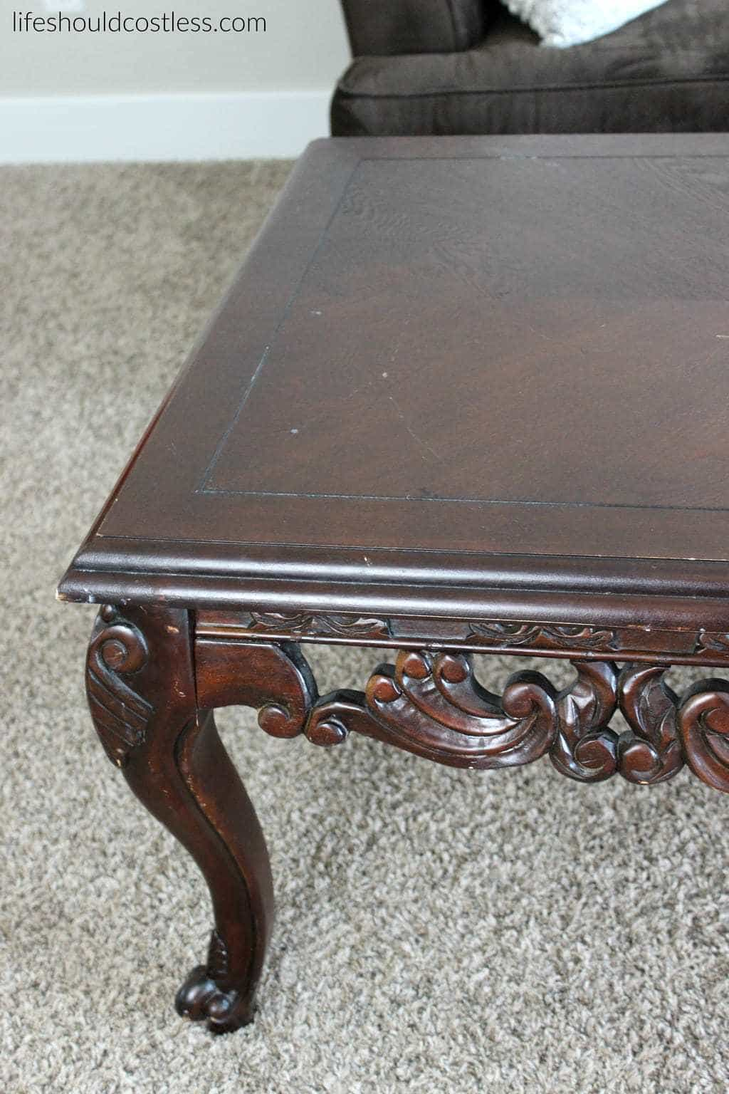 Coffee Table Make-Over Close Up Of Detail Work