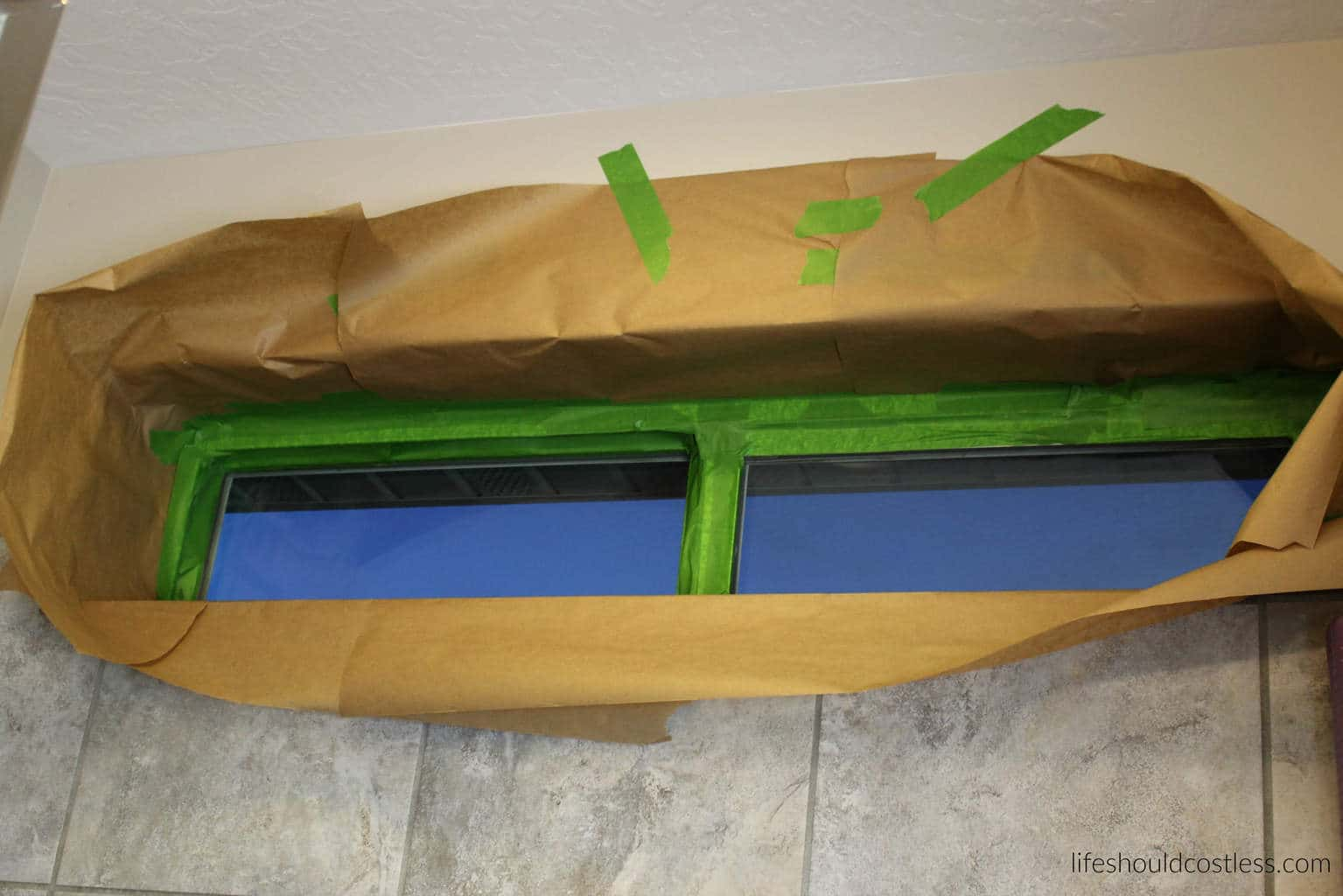 DIY Privacy Glass, taping off. {lifeshouldcostless.com}