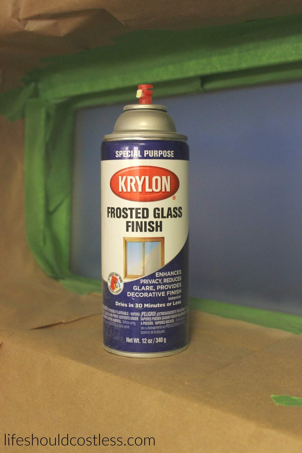 Krylon Frosted Glass Finish. DIY Privacy Glass. {lifeshouldcostless.com}