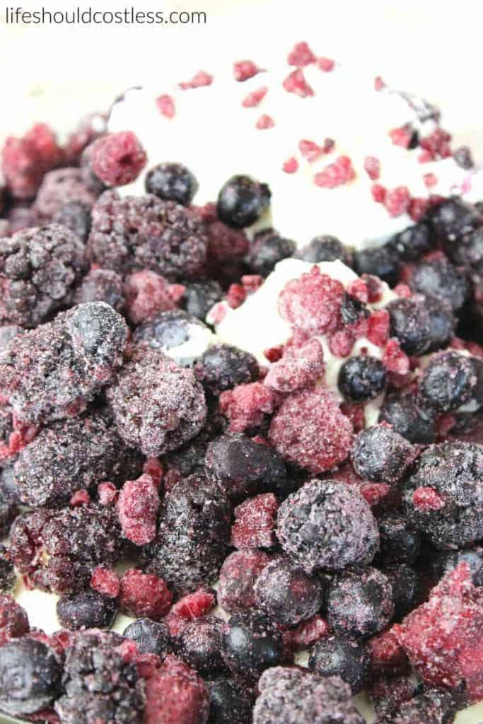 Lemon Berry Salad. Frozen mixed berries.