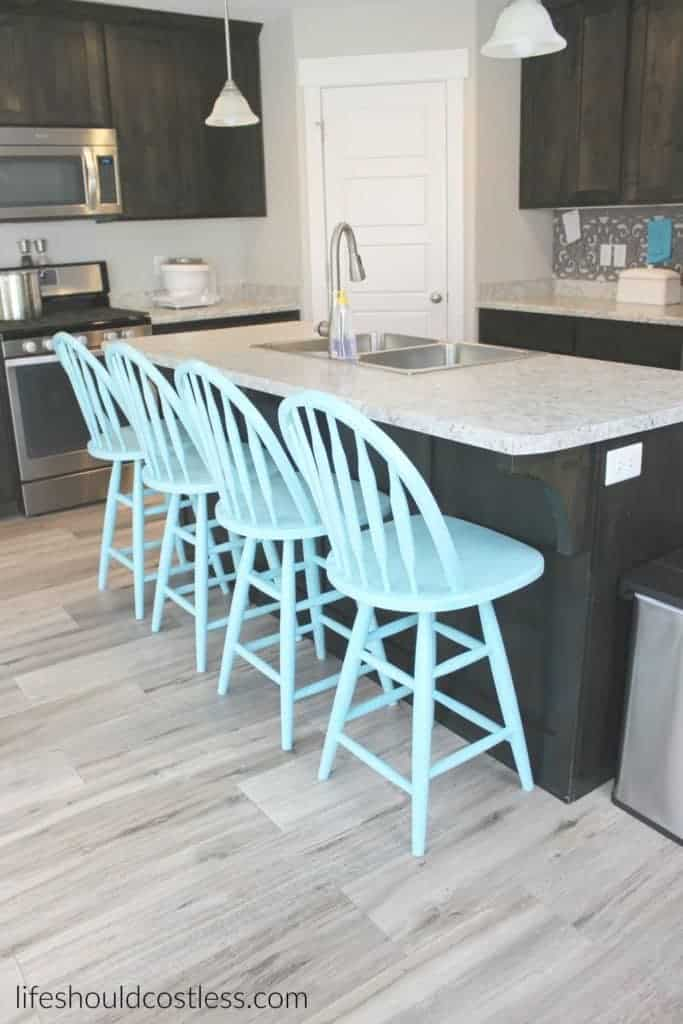 """Tiffany Blue"" Kitchen Stools Make-Over"