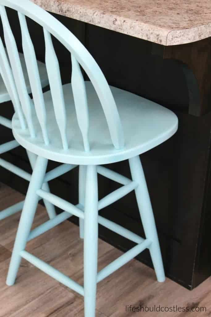"""Tiffany Blue"" Kitchen Stools Make-Over"