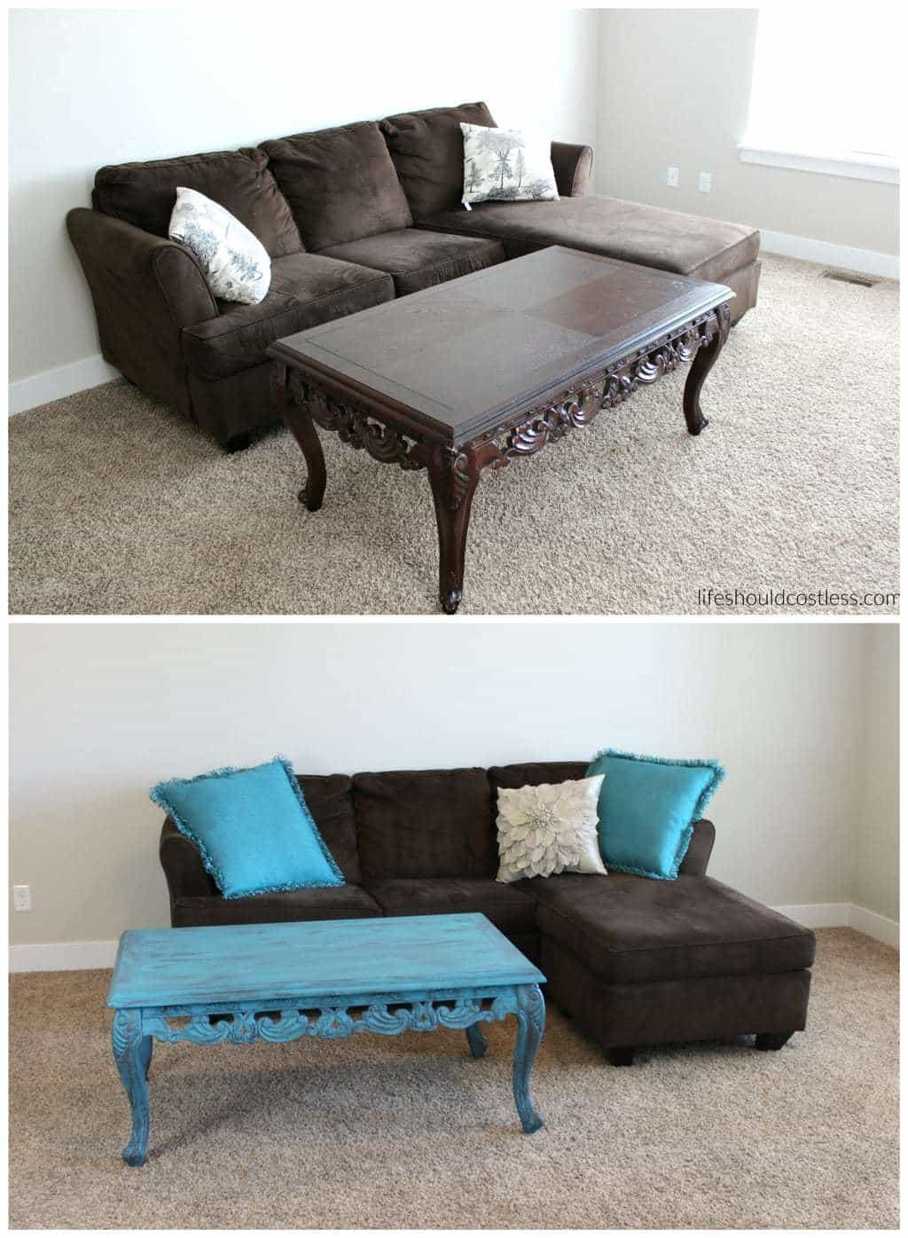 Turquoise Coffee Table Make-Over In Americana Decor Treasure Before and After Together