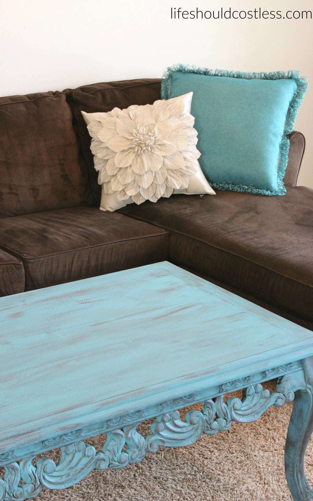 Coffee Table Make Over In Turquoise Americana D 233 Cor