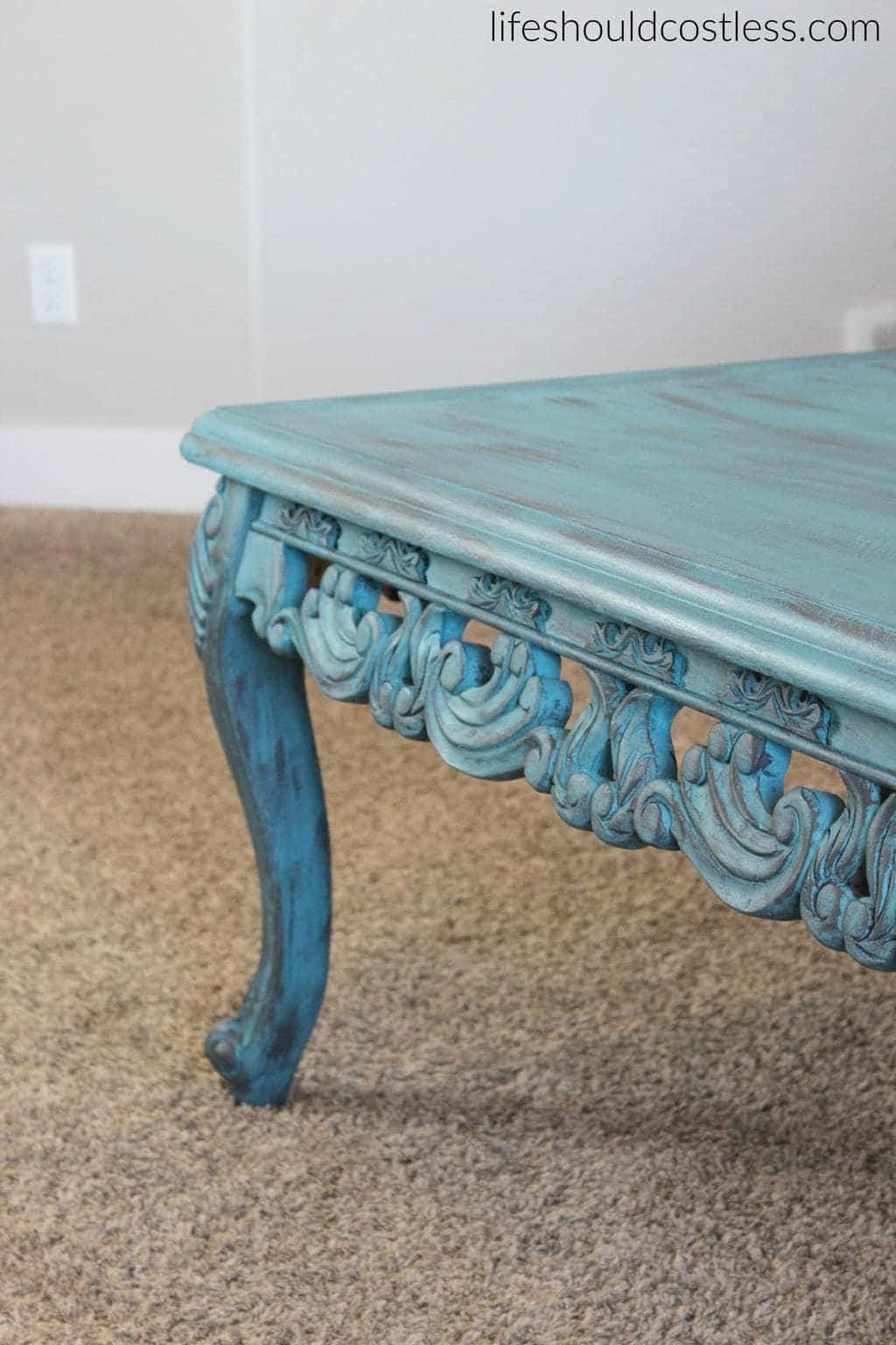 Turquoise Coffee Table Make-Over In Americana Decor Treasure