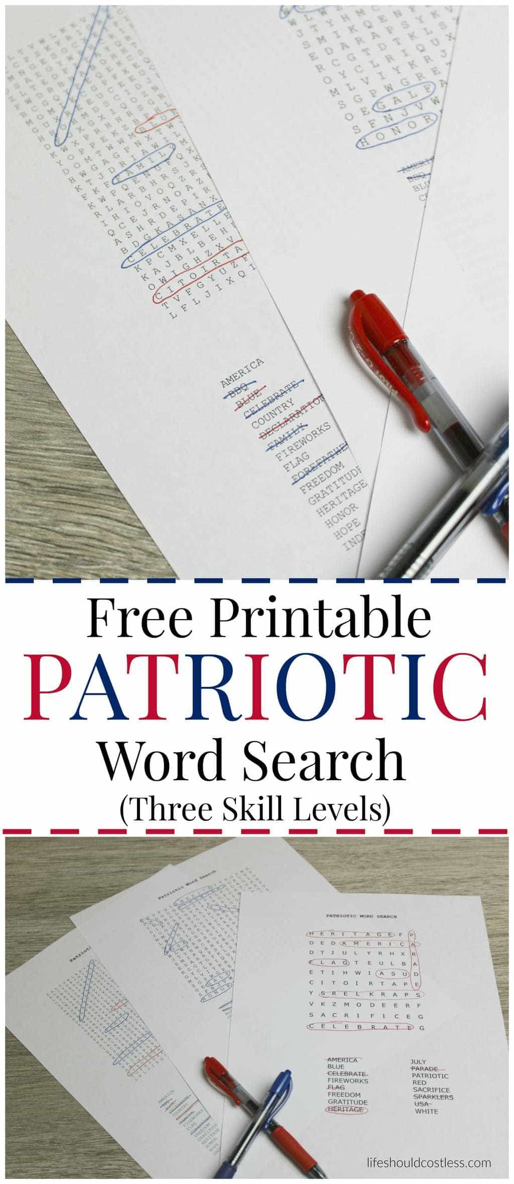 Free Printable Patriotic Word Search, with three different skill levels. Keep everyone busy between activities.
