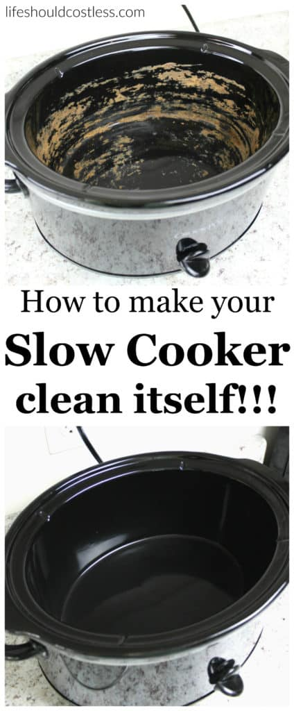 How to make your slow cooker clean itself! Never spend more than thirty seconds scrubbing your slow cooker ever again! Plus, it removes any funky lingering tastes or smells.