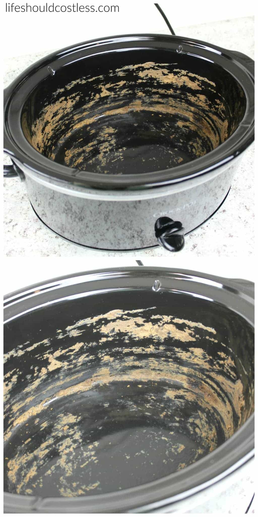 How to make your slow cooker clean itself! Ring of crud be gone with less than 30 seconds of scrubbing. Before