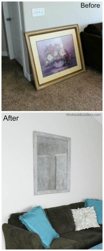 DIY framed print turned faux antique mirror.
