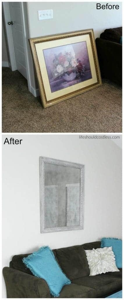 DIY framed print turned faux antique mirror.