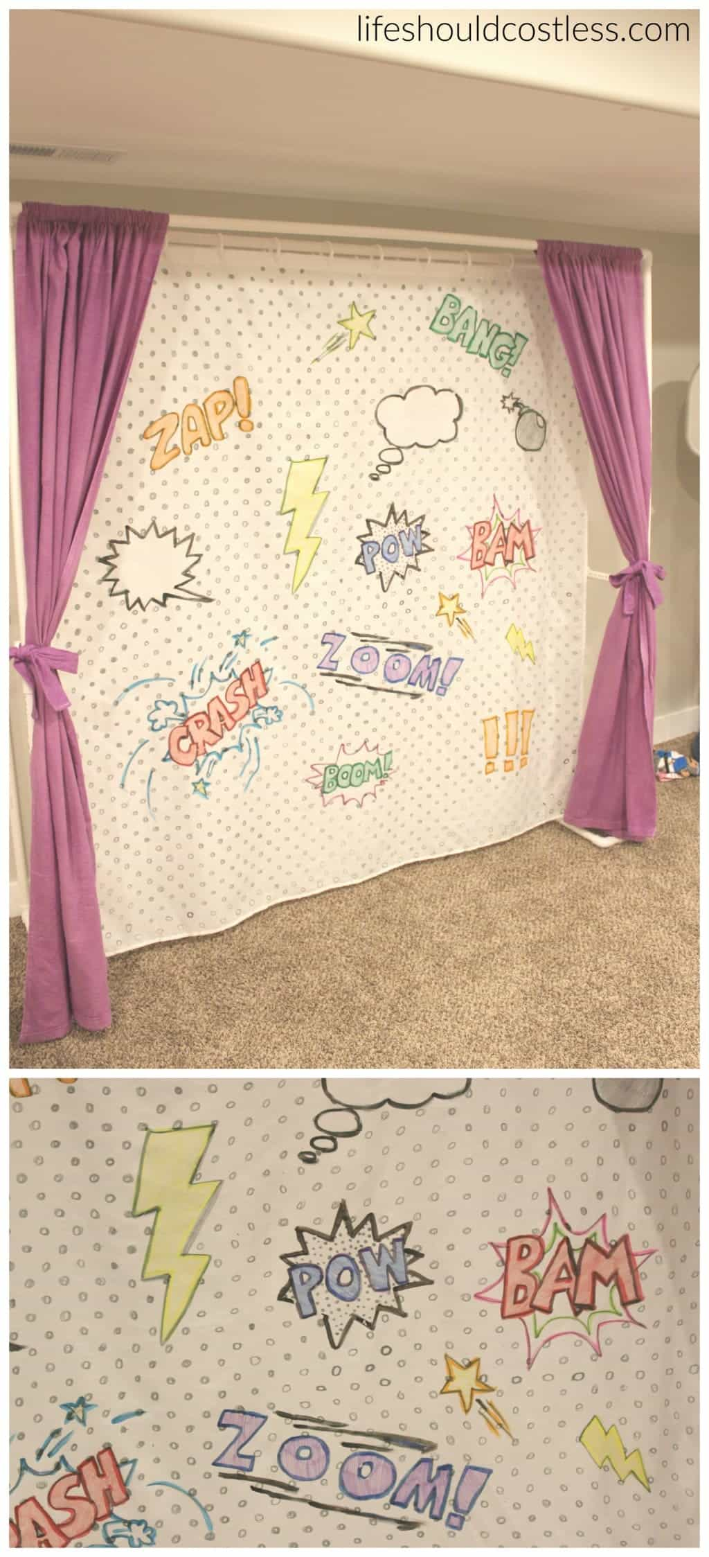 "Multi-Use PVC Theater with washable and glow-in-the-dark backdrop options. The ""thneed"" of PVC theaters! It is so veratile that you can do almost anything. Best PVC project for kids. Used as backdrop for comic themed party."